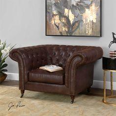 Uttermost Redmond Weathered Brown Armchair