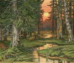 Ivan Yakovlevich [Ivan Bilibine] (1876-1942). Fairy Forest at Sunset. c. 1906. Watercolor, goache Illustration for a Russian fairy tale.