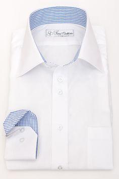 Das blaue-weiße Karomuster bildet einen wunderbaren Kontrast zum reinen Weiß des Hemds. Stoff: Bovelino, weiß    Klick auf das Foto, um zum Hemd in unserem Shop zu gelangen!