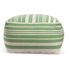 Check out this item at One Kings Lane! Ellie Pouf, Seafoam/White