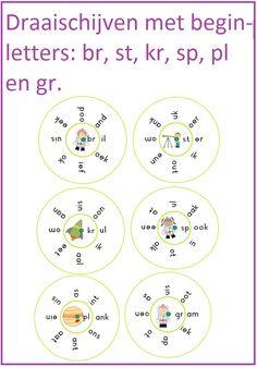 Draaischijven met de beginletters: br, st, kr, sp, sl, pl en gr.