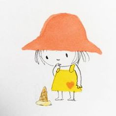 Little girl with ice cream-Jane Massey ( Art Drawings For Kids, Drawing For Kids, Cute Drawings, Children's Book Illustration, Character Illustration, Graphic Design Illustration, Drawing Lessons, Character Drawing, Girl Cartoon