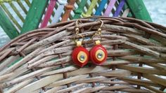 Red & Yellow quilled earrings