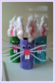 This is a super easy craft to do with your toddler and great fun for easter! You will need: An empty toilet roll Coloured tissue paper Old bit of card-a cereal box or similar would do Pink and whit...