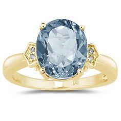4.50 Carat Aquamarine & Diamond Ring in Yellow Gold