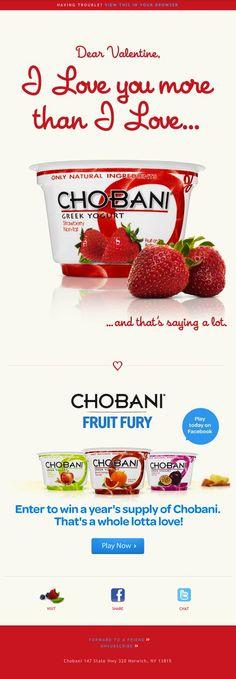 Chobani greek yogurt! Yum!