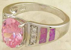 New Pink Topaz Angel Pink Fire Opal Silver Ring -