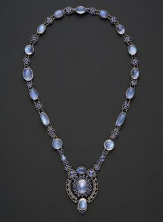 Necklace with Pendant  Designed by Louis Comfort Tiffany  (American, New York 1848–1933 New York), Tiffany & Co., circa 1910, moonstones, sapphires set in platinum