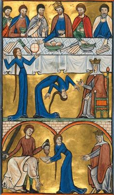 Bayerische Staatsbibliothek, Clm 835, f. 137 (an impressively flexible Salome).  Psalter (Munich Golden Psalter). England [Gloucester?], 1st quarter of the 13th century.