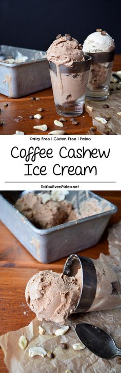 Coffee Cashew Ice Cream  - an incredibly thick and creamy dairy free ice cream recipe made with cashews and cold brew coffee - a match made in heaven! Bonus: this healthy recipe is gluten free and paleo!   DoYouEvenPaleo.net #paleo #glutenfree