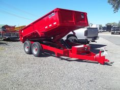 6 x 12 dump trailer red hawke loaded GVWR by best trailers in macon ga Best Trailers, Dump Trailers, Welding Trucks, Covered Wagon, Truck Bed, Tractors, Welding Ideas, Vehicles, Bedding