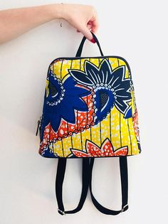 85afe5ac460d Items similar to Ankara backpack wax print bag african print ankara print  ethnic yellow orange blue print on Etsy