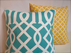 Aqua Lattice & Yellow Geometric Accent Pillow Cover Throw SET w Zippers, 18x18""