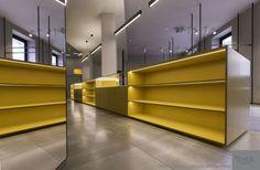 Viroc Grey - Flooring Viroc Yellow - Furniture Shopfitting clothing store at: Milano, Italy.