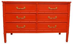 One Kings Lane - Fantasy Island - Red Faux-Bamboo Dresser by Henry Link