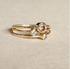 Choose three stones for your sparkling threads of gold-Set of three tiny stack rings with 14k gold, set faceted stones- delicate