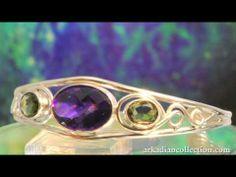 The Amethyst & Moldavite Gemstone Bracelet Handmade in Sterling Silver - http://videos.silverjewelry.be/bracelets/the-amethyst-moldavite-gemstone-bracelet-handmade-in-sterling-silver/
