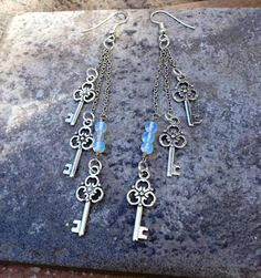 GATE KEEPER //  Petite Key Charms and Moonstone by ShopParadigm, $34.00