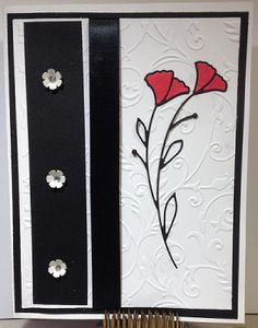 Hello and thanks for stopping by. Today I am sharing a card that was created using the Arched Poppies Die. I wanted to make the poppies the main focus so I cut 2, one red and one black. I took the red insets from the red poppy and added them to the black poppy. Supplies: cardstock 6 1/2 x 5