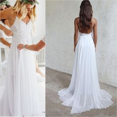 Spaghetti Strap White Chiffon Lace Appliqued V-neck Summer Beach Wedding Dresses,apd2477