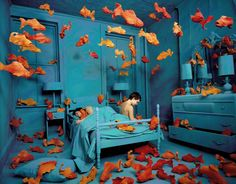 """""""My work involves the physical manifestation of emotional reality. Thus, the invisible becomes visible; the normal, abnormal; and the familiar, unfamiliar. Ordinary life is an endless source of fascination to me.""""  Sandy Skoglund"""