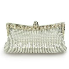 Silver Satin With Austria Rhinestones/ Aluminiumsheet Evening Handbags/ Clutches More Colors Available (012005462)