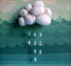 a cloud mobile (Atelier Pompadour made this one. Cloud Mobile, Going To Rain, Arts And Crafts, Diy Crafts, Felt Crafts, Rain Clouds, 3d Clouds, Pompadour, Decoration