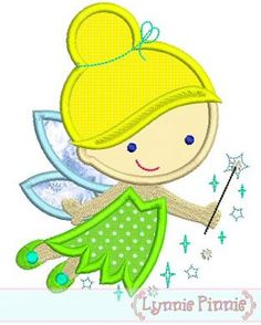 Embroidery Designs - Cutie Princess Fairy Applique 4x4 5x7 6x10 - Welcome to Lynnie Pinnie.com! Instant download and free applique machine embroidery designs in PES, HUS, JEF, DST, EXP, VIP, XXX AND ART formats.