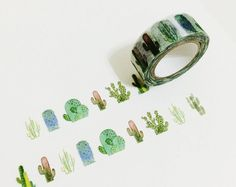 Cactus Washi Tape by mandiekuo on Etsy Cactus Stickers, Cactus Print, Cactus Cactus, Baby Cactus, Cute Stationery, Masking Tape, Washi Tapes, Cacti And Succulents, Paper Texture