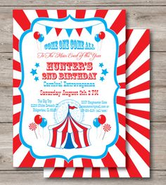 Carnival Invitation Template Free New 27 Carnival Birthday Invitations Free Psd Vector Eps Carnival Birthday Invitations, Birthday Party Invitations Free, Carnival Themed Party, Circus Theme, Printable Invitation Templates, Printable Party, Invitation Cards, Printables, Birthday Template