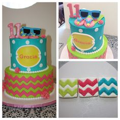 Beach theme cake and cookies for a birthday! Not my design.