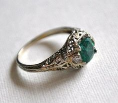 Art Deco Emerald and Diamond Ring by JeanneHandmade on Etsy