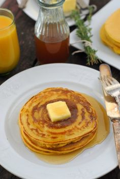 GF Pumpkin Ricotta Pancakes with Ginger-Thyme Syrup by Boulder Locavore