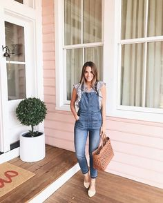 Outfit Details: Madewell Overalls (more here), La Vie Rebecca Taylor Top (on sale), J.Crew Flats (old, last seen here and similar here), Dragon Diffusion Tote (last seen here) Preppy Mode, Preppy Style, Style Me, Spring Summer Fashion, Spring Outfits, Modest Fashion, Fashion Outfits, Gal Meets Glam, Blue Jeans