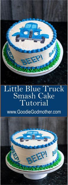 Blue Truck Smash Cake - A buttercream transfer tutorial on New Year's Desserts, Party Desserts, Christmas Desserts, Delicious Desserts, Delicious Dishes, Truck Birthday Cakes, Truck Cakes, 2nd Birthday, Birthday Ideas