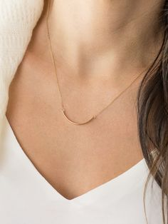 Curved Skinny Bar Necklace / Silver Gold or Rose by LayeredAndLong