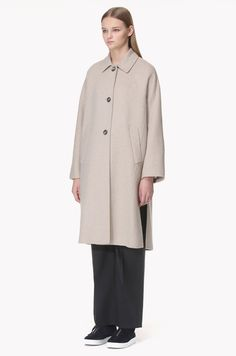 [SYSTEM 0] Convertible collar wool cashmere blend coat