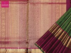 Anya Boutique provide best collection of Kanchipuram silk sarees for bridal in Coimbatore.Alli green pure kanchipuram silk checked saree with Magenta pallu. #Kanchipuram_silk #Ethnic #Check_sarees