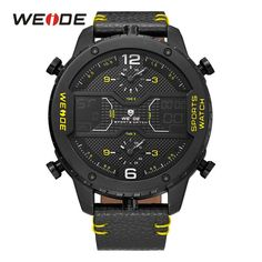 WEIDE Military Mens Three Time Zone Analog LCD Sport Digital Calendar Date Day Quartz Leather Strap Water Resistant Wristwatches. Yesterday's price: US $60.99 (52.49 EUR). Today's price: US $40.86 (35.13 EUR). Discount: 33%.