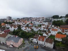 The white wooden houses and buildings of Gamle Stavanger (Old Stavanger), Norway
