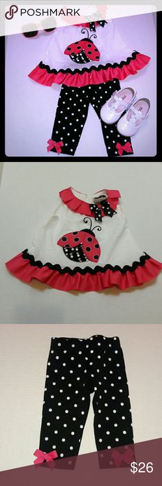 🐞Precious Lady bug Outfit🐞 Absolutely precious lady bug outfit...beautiful pink pleated ribbon around the top collar of the shirt...and flowing ribbon on the  bottom of the shirt..with a lady bug in the middle with a tulle layer over the wings..matching black tights with white poka dots..and pink ribbon bows on the side's of the bottom of the tights..shirt has one loop button closure at top..shirt has an embroidered texture..all in pictures..any ?'s please ask! Rare Editions Matching Sets