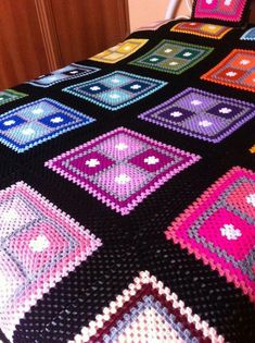 Transcendent Crochet Solid Granny Square Ideas That You Would Love Ideas : Crochet Squares Design Crochet granny square blanket, in fours, unusual setting. Crochet Bedspread Pattern, Crochet Quilt, Granny Square Crochet Pattern, Afghan Crochet Patterns, Crochet Squares, Crochet Granny, Crochet Motif, Crochet Yarn, Knitting Yarn