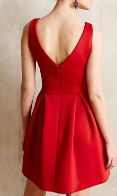 Red Plain Condole Belt Zipper Draped V-neck Satin Bridesmaid Audrey Hephurn Slim Vintage Mini Dress