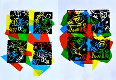 The designs, typically linear of Juan Miro, inspired us to realize our prints with styrofoam in the 6th grade classes. This material was cut from used food trays. The small plates have become the m...