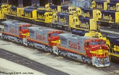 Brand new ATSF #800, #802, & #804 (GE Dash 8-40CW) would make their 1st revenue run on the SCHLA1 on April 15, 1992. Photo by John Hake.