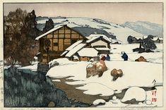 hanga gallery . . . torii gallery: Snow in Kashiwabara by Hiroshi Yoshida