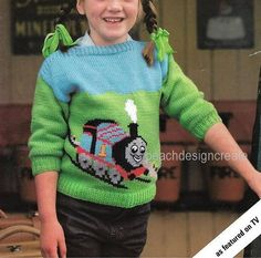 Thomas the Tank Engine sweater sizes 20-28 inch chest needles required 4mm 3.25mm (8-10UK 3-6USA) yarn type double knitting My patterns are lightly watermarked, this does not affect the reading of the pattern. Please note this is a digital download of the pattern and not the