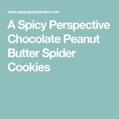A Spicy Perspective Chocolate Peanut Butter Spider Cookies