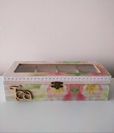 This item is unavailable Wooden Tea Box, Decorative Boxes, My Etsy Shop, Unique Jewelry, Handmade Gifts, Floral, Check, Pattern, Vintage
