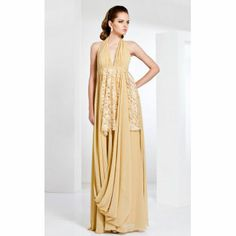 Halter Neck Chiffon With Lace Evening Dress Inspired By Louise Roe At The Emmys